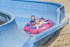 Rubber boat in a waterslide, image 4 Royalty Free Stock Photo