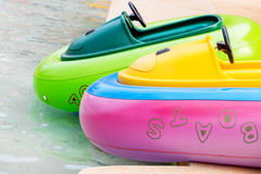 Rubber boats in pond Stock Image