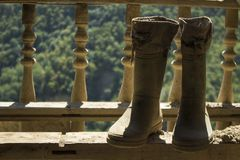 Rubber boots on the background of nature. royalty free stock photo