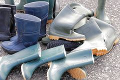 Rubber boots Stock Images