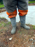 Rubber boots after concreting Royalty Free Stock Photography