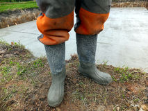 Rubber boots after concreting Stock Images