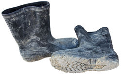 Rubber boots for construction Stock Image