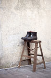 Rubber boots drying on step ladder, Suzhou, China Royalty Free Stock Photo