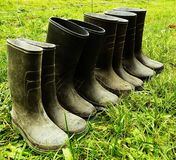 Rubber Boots on the Farm Stock Photo