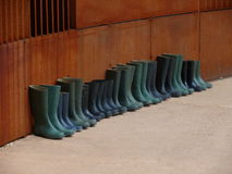 Rubber boots in formation. Row of rubber boots in formation royalty free stock photos
