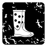 Rubber boots icon, grunge style Stock Photo