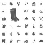 Rubber boots icon. Gumboots icon. Camping and outdoor recreation icons set.  Stock Image