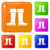Rubber boots icons set vector color vector illustration