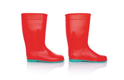 Rubber boots isolate. Red rubber boots. Isolated on white background Stock Photography