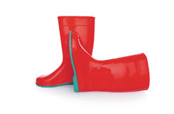 Rubber boots isolate. Red rubber boots. Isolated on white background Stock Photos