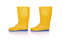 Rubber boots isolate. Yellow rubber boots. Isolated on white background Stock Photo