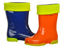 Rubber boots for kids isolated on white background Stock Image