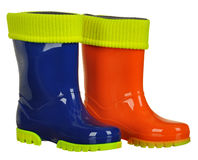 Rubber boots for kids isolated on white background Royalty Free Stock Image