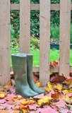 Rubber boots on leaves Stock Images