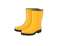 Rubber boots. A pair of yellow rubber boots royalty free illustration