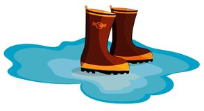 Rubber boots in a puddle on a white background Stock Photography