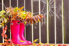 Rubber boots (rainboots) and autumnal leaves are on the wooden  background with drawing rain drops, cloud and sun. Royalty Free Stock Photo