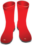 Rubber boots. Red rubber boots for wet weather. Vector illustration Stock Photography