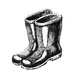 Rubber boots. Sketch Royalty Free Stock Image