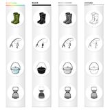 Rubber boots, spinning for fishing, bowler, fish tank. Fishing set collection icons in cartoon black monochrome outline. Style vector symbol stock illustration Stock Image