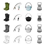 Rubber boots, spinning for fishing, bowler, fish tank. Fishing set collection icons in cartoon black monochrome outline. Style vector symbol stock illustration Stock Images