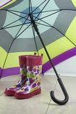 Rubber Boots and Umbrella Royalty Free Stock Photography