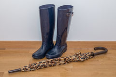 Rubber boots with umbrella Stock Photography