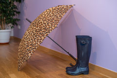 Rubber boots with umbrella Royalty Free Stock Photography