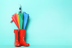 Rubber boots with umbrella. Red rubber boots with umbrella on a green background Royalty Free Stock Photo