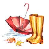 Rubber boots and umbrella. Watercolor hand-drawn illustration stock illustration