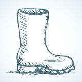 Rubber boots. Vector drawing Stock Image