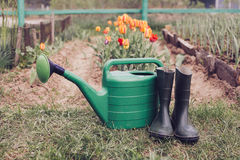 Rubber boots with watering can on grass Royalty Free Stock Photo
