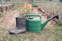 Rubber boots with watering can on grass Stock Photo