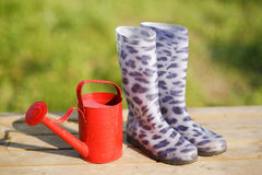 Rubber boots with watering-can Royalty Free Stock Photos