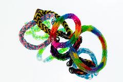 Rubber Bracelets. Some different bracelets made of rubber loops Royalty Free Stock Photos