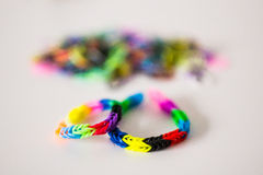 Rubber bracelets on table Stock Image