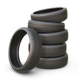 Rubber car tire or tyre. 3D icon  Stock Photo