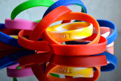 Rubber cause bracelets Royalty Free Stock Photography