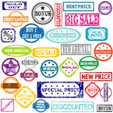 Rubber colored stamps with sale messages Royalty Free Stock Photo