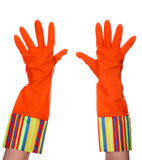 Rubber dishwashing gloves Royalty Free Stock Photo
