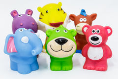 Rubber dog and friends Stock Photos