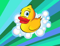 Rubber Duck. An illustration of a rubber duck surrounded in soapy bubbles Stock Images