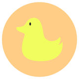 Rubber duck baby toys cute icon in trendy flat style isolated on color background. Baby symbol for your design, logo, UI. Vector i Stock Photos