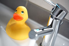 Rubber duck in the bath Royalty Free Stock Images