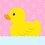 Rubber duck with bath background Royalty Free Stock Images