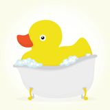 Rubber duck in a bath Royalty Free Stock Photos