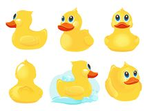 Free Rubber Duck. Bath Yellow Cute Toys Water Funny Games Vector Duck Cartoon Illustrations Stock Photos - 161058393