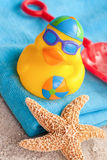Rubber duck on the beach Stock Images