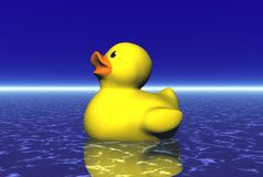 Rubber Duck on Blue Water. Digital render of a yellow rubber duck floating on foamy blue water stock illustration